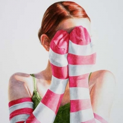 Colorful stripes,polka dots and patterns are the key elements of Ali Cavanaugh's pretty, photorealistic paintings.