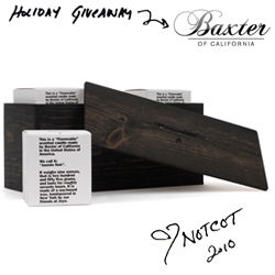 "Holiday Giveaway #21: Baxter of California is giving one lucky reader a ""Flammable"" Wood Gift Box! Three candles in a stunning box!"