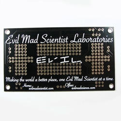 Evil Mad Scientist business card is a working custom printed black circuit board!