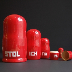 Hand painted Russian Dolls used to promote Stolichnaya Russian Vodka in bars around Belfast.
