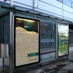 Bus shelter Adshels filled with real popcorn to promote Jameson's sponsorship of the Belfast Film Festival 2008.