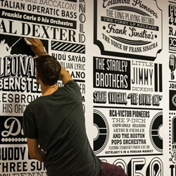 The history of Sony Music is charted in a typographic timeline installed in the company's London HQ, created by designer Alex Fowkes.