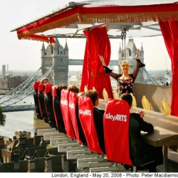 Opera singer Leslie Garrett was hoisted above the Tower of London via a crane where she performed for a small audience to promote the  English National Opera. The stunt was organized by Sky Arts TV channel.