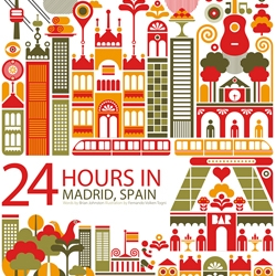 24 hours in Madrid, Spain. Illustration for the Oryx Magazine for Qatar Airways, designed by Fernando Volken Togni