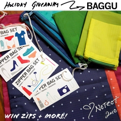 NOTCOT Holiday Giveaway #23: Baggu ~ a giveaway of a bundle of Baggu reusable bags ~ from baby ones to big ones to a 3 pack of normal shopping bags to a bunch of the new zips and more!