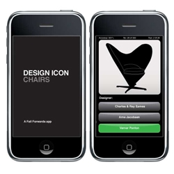 Chair spotters, test your skills with this iPhone app game featuring 100 classic chairs developed by Mark Stevens from Fail Forwards in Copenhagen.