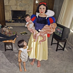 """Photographer Dina Goldstein shot """"fairy tale characters in modern day scenarios"""" for this """"Fallen Princesses"""" series."""
