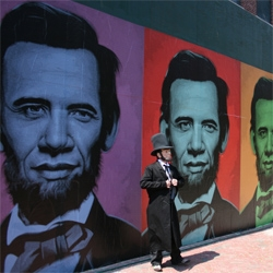 Popagandist Ron English pasted up oversized images of his striking Obama-Lincoln fusion image in Boston.