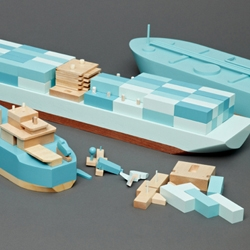 Beautiful contemporary wooden toy boats from Postlerferguson. Too nice for kids.