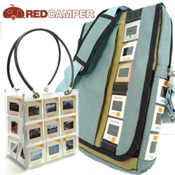 RedCamper: Handbags/purses & laptop bags featuring original 35mm photographic slides, snapshots of family vacations, vintage recycled car upholstery and airplane seatbelt clips.  Inspired by travel and all one of a kind.