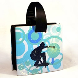 Becky makes a line of bags called Sk8bags made from recycled skateboard decks.