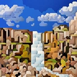 'Iceland' graphic work by the Icelandic graphic artist Siggi Eggertsson.