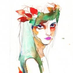 Watercolor illustration by polish illustrator Ola Szpunar.