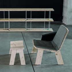 'Rezo' Library,  'Oblik' lounge chair and 'Too' pedestal table by the French designer Fred Rieffel for 'Doow'.