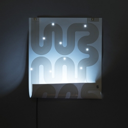 'L-Ink' poster-lamp by the French designer Jean-Sébastien Lagrange and Chevalvert, exposed at the Biennale Internationale Design Saint-Étienne 2013.