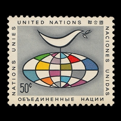 Part 1 in a series of vintage United Nations postage stamps from the 1950s to 1980s. This dove and globe stamp dates back to 1964.