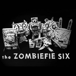 Six figures of Zombiefie custom papercrafts by Thunderpanda for Halloween project.