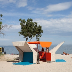 'Beach Library' by French designer Matali Crasset in Istres, France.