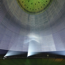 "Experience 320°Licht by URBANSCREEN, part of the exhibition ""The Appearance of Beauty"" at Gasometer Oberhausen."