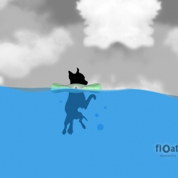 float-a-pet. this system illuminates to help you find your pet at night and automatically activates upon hitting the water.  perfect for the overly domesticated.