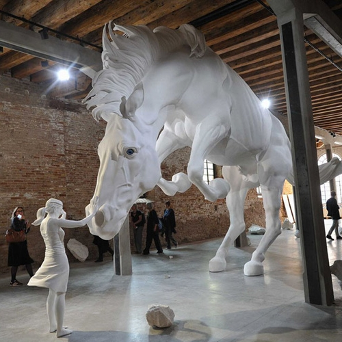 At the 57th La Biennale of Venice, artist Claudia Fontes has unveiled The Horse Problem, a giant white horse within the Argentinian Pavilion.