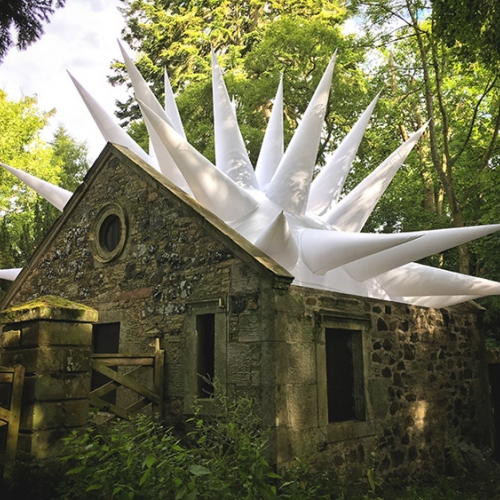 Environmental artist Steve Messam has installed three inflatable, fabric sculptures into the buildings and landscape of the Borders Sculpture Park at Mellerstain.