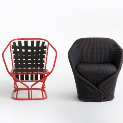 Named after a type of cloak, the seat describes the chairs construction with a softly padded textile around lightweight metal framework, mirroring the way a coat would wrap the body.