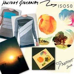 NOTCOT Holiday Giveaway #28: ISO50 is giving one lucky reader a super bundle from the shop: a choice of tshirt, a choice of thermal shirt, a choice of giclee, the Tycho Past is Prologue cd, and a Past is Prologue poster.