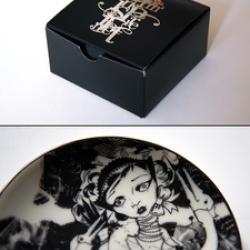 Zoetica Ebb's Inform Inspire Infect Miniature Porcelain Plates Set.