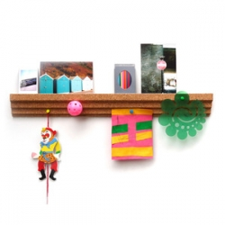 Cork Picture Rail Design by Erin Deighton ~ nice idea to combine a ledge to place frames on and still pin to the bottom!