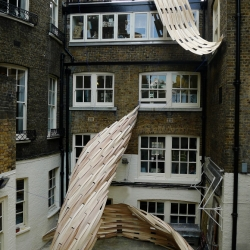 AA Summer School students developed a site-specific lightweight skin installation that addressed the evolution and obsolescence of the urban square. Bedford Square, London.