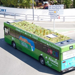 The PhytoKinetic Bus, currently operating in Girona, Spain, is the world's first green-roofed public bus. The roof garden is highly sustainable, helping to cool the bus interior by near 40°!
