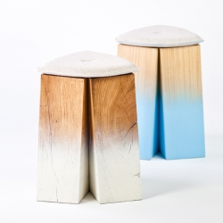 'Tchancayres' stools by French designer Florent Degourc, exhibited on 'NOW! Le off' for Paris Design Week.