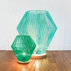 'Shining' braided plastic lamp by French designer Elsa Randé for Paris Design Week.