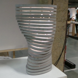 'Ovo 02' concrete structure, lamp, vase, or sculpture by French designer Tamim Daoudi.