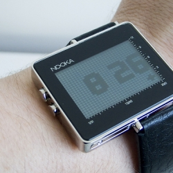 Nooka Zon -- One function displays the time in big digital numbers while the other way shows time in squares.