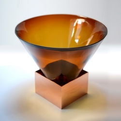 'Rozmowa' glass and copper objects by French designer Amaury Poudray.