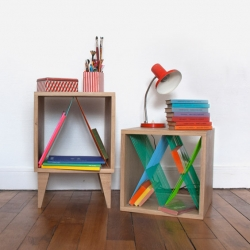Oak cabinets and plastic thread by French designer Elsa Randé.