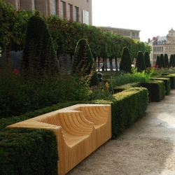 'Monolit' outdoor bench by Polish designer Pawel Grobelny in Albertine's garden in Brussel, Belgium.