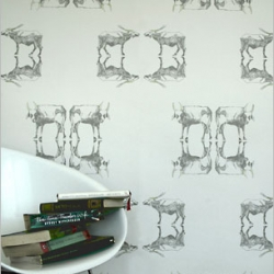 Holy Cow, eco-friendly wallpaper by Louise Body, is decorated with a water buffalo pattern and printed with waterbased inks and nontoxic solvents on paper from managed forests