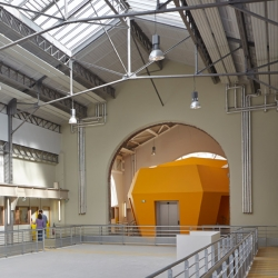 For the 'superior arts and crafts Paristech school' the architectural firm of Patrick Mauger redesigns two of the halls of the Paris technology campus.