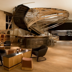 Haras de Strasbourg, hotel and restaurant, subtly inspired by the world of the horse. By architects Patrick Jouin and Sanjit Manku, France.