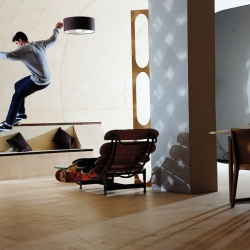 The PAS/ Skateboard House was designed by Francois Perrin/ Air Architecutre for Etnies founder Pierre Andre Senizergues. Every surface of the home--of which this is a prototpye--will be fully skateable. Long live the dream!
