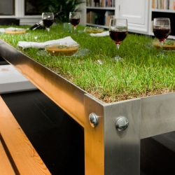 The picNYC table brings picnicking indoors with a tabletop of grass, soil and stones.