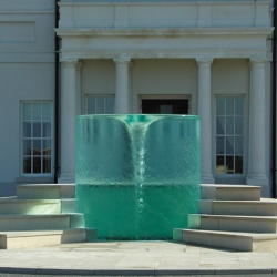 Vortex Water Sculpture by William Pye.  Hidden inside is a giant transparent acrylic cylinder.