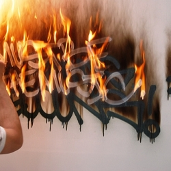 """Fire Tagging"" is a new form of graffiti where NYC artists scrawl their signature in lighter fluid, then set it aflame in controlled, approved environments (read: lots of water nearby)."