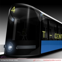 A student's stylish proposal for a tramway to be implemented in the city of Stockholm.