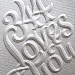 Luscious lettering by Doyald Young, embossed beautifully for 344 Design as a Thank You card.