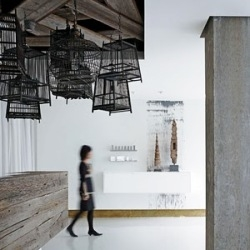 Loved this very cool collection of bird cages at Revel Spa, SF spotlighted in Interior Design Magazine.