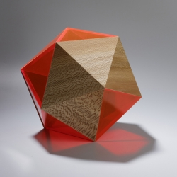 'Precious' small containers of solid wood and fluorescent plexiglass by designer Didier Versavel and cabinetmaker Jean-Marc Estaque.